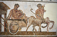 Picture of a Roman mosaics design depicting Dionysus drunk being transported on a chariot pulled by a centaur, from the ancient Roman city of Thysdrus. 3rd century AD House of Tertulla. El Djem Archaeological Museum, El Djem, Tunisia. .<br /> <br /> If you prefer to buy from our ALAMY PHOTO LIBRARY  Collection visit : https://www.alamy.com/portfolio/paul-williams-funkystock/roman-mosaic.html  . Type -   El Djem   - into the LOWER SEARCH WITHIN GALLERY box. Refine search by adding background colour, place, museum etc<br /> <br /> Visit our ROMAN MOSAIC PHOTO COLLECTIONS for more photos to download  as wall art prints https://funkystock.photoshelter.com/gallery-collection/Roman-Mosaics-Art-Pictures-Images/C0000LcfNel7FpLI