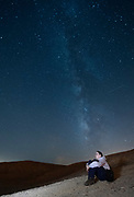 Long exposure of the Milky Way. Photographed in the Negev Desert, Israel Model Release Available