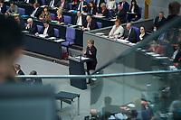 17 FEB 2016, BERLIN/GERMANY:<br /> Angela Merkel (M), CDU, Budneskanzlerin, waehrend ihrer Regierunsgerklaerung der zum Europaeischen Rat, Plenum, Deutscher Bundestag<br /> IMAGE: 20160217-03-019<br /> KEYWORDS: Debatte, Rede, speech
