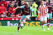Andre Ayew of West Ham in action.  Premier league match, Stoke City v West Ham Utd at the Bet365 Stadium in Stoke on Trent, Staffs on Saturday 29th April 2017.<br /> pic by Bradley Collyer, Andrew Orchard sports photography.