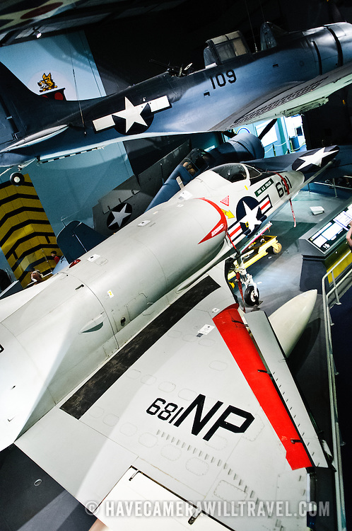 As part of the aircraft carrier exhibit at the National Air and Space Museum, naval fighter planes on display