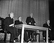 """09/10/1956<br /> 10/09/1956<br /> 09 October 1956<br /> <br /> <br /> Most Reverend Dr Bishop Lucey of Cork delivers a lecture in Fr Matthew Hall for Centenary<br /> 10/10/1956<br /> <br /> Cornelius """"Con"""" Lucey (1902–82) was a Roman Catholic Bishop of Cork and Ross.<br /> <br /> Cornelius Lucey was born into a farming family at Carrigrohane, near Cork City. He studied at St Finbarr's College, Farranferris, the diocesan college. He graduated from St Patrick's College, Maynooth with BC and BCL, and obtained MAs at Innsbruck University in 1927–29 and then University College Dublin.<br /> <br /> Lucey was ordained a priest in 1927. He held the Chair of Philosophy and Political Theory at St. Patrick's College, Maynooth, from 1929 to 1950. He was one of the founders of Christus Rex, a priest's society devoted to social issues, on which he was a prominent commentator. In 1951 he was appointed bishop of the diocese of Cork, from 1958 united to the Diocese of Ross. He founded the St. Anne's Adoption Society in 1954. His outspoken sermons, often given at confirmations, made him something of a thorn in the side of the establishment. His views on matters of faith and morals were conservative, and he was involved in a controversy in the 1960s, when he withdrew the diocesan faculties of Father James Good, a lecturer at University College, Cork, for publicly dissenting from the teaching of Pope Paul VI. He started the Cork diocesan mission to Peru, and many priests from Cork ministered there from 1961.<br /> <br /> Lucey retired as bishop in 1980, in the early stages of leukemia. He went to the Turkana District in Kenya to work as an ordinary curate with Good, who had gone there some years earlier.<br /> <br /> After nearly two years in Kenya he became seriously ill. He was flown back to Cork in September 1982 and died within days.<br /> <br /> In 1985, as part of the Cork 800 festival, a site between Grand Parade and South Main Street was developed into an urban park named """"Bish"""
