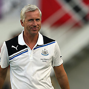 Newcastle United Manager Alan Pardew during an International Friendly soccer match between English Premier League team Newcastle United and the Orlando City Lions of the United Soccer League, at the Florida Citrus Bowl on Saturday, July 23, 2011 in Orlando, Florida. Orlando won the match 1-0. (AP Photo/Alex Menendez)