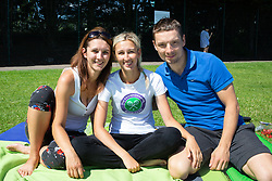 (L-R) Friends Veronika, Hana and Ludek from the Czech Republic pictured camping during day one of the Wimbledon Championships at the All England Lawn Tennis and Croquet Club, Wimbledon. They are hoping to get tickets to see Roger Federer play tomorrow (Tuesday). Photo credit should read: Katie Collins/EMPICS