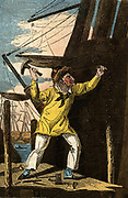 'The Shipwright:  Hand-coloured woodcut from ''The Book of English Trades'', London, 1823.'