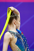 Salos Anastasiia during final at ribbon in Pesaro World Cup at Virtifrigo Arena on may 30, 2021. Anastasiia born on February 18 ,2002 in Barnaul. She is a rhythmic gymnast member of the Belarusian National Team.
