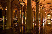08 AUGUST 2007 -- ISTANBUL, TURKEY: Inside the Basilica Cistern in Istanbul, Turkey. The Cistern was created by Roman Emperor Justinianus in the 6th Century as the city's water supply. Istanbul, a city of about 14 million people, and the largest city in Turkey, straddles the Bosphorus Straits between Europe and Asia. It is one of the oldest cities in the world. It was once the center of the Eastern Roman Empire and was called Constantinople, named after the Roman Emperor Constantine. In 1453, Mehmet the Conqueror, Sultan of the Ottoman Empire, captured the city and made it the center of the Ottoman Turkish Empire until World War I. After the war, the Ottoman Empire was dissolved and modern Turkey created. The capitol was moved to Ankara but Istanbul (formerly Constantinople) has remained the largest, most diverse city in Turkey.    Photo by Jack Kurtz