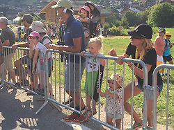 July 17, 2018 - Le Grand Bornand, FRANCE - Belgian Serge Pauwels' wife Ine Beyen and their two children (R) pictured after the tenth stage in the 105th edition of the Tour de France cycling race, 112.5 km from Annecy to Le Grand Bornand, France, Tuesday 17 July 2018. This year's Tour de France takes place from July 7th to July 29th...BELGA PHOTO ANN BRAECKMAN - FRANCE OUT (Credit Image: © Ann Braeckman/Belga via ZUMA Press)