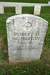 26 August 2017:   A part of the History of McLean County Illinois.<br /> <br /> Tombstones in Evergreen Memorial Cemetery.  Civic leaders, soldiers, and other prominent people are featured. Section 5, the old town soldiers area<br /> <br /> Robert D McMillion  Illinois  Sergeant 5 U.S. Cav  February 22, 1936