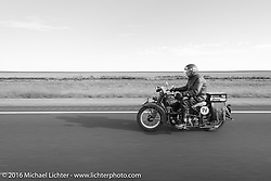 Paul Bessade of France riding his 1929 Henderson KJ during Stage 9 (249 miles) of the Motorcycle Cannonball Cross-Country Endurance Run, which on this day ran from Burlington to Golden, CO., USA. Sunday, September 14, 2014.  Photography ©2014 Michael Lichter.