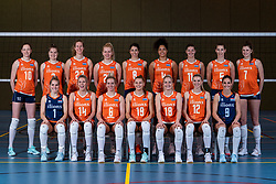 28-12-2019 NED: Team photo Volleyball women, Arnhem<br /> Volleyball women photoshoot before the final training when they leave for Olympic Qualification Tournament / Lonneke Sloetjes #10 of Netherlands, Yvon Beliën #3 of Netherlands,, Nicole Koolhaas #22 of Netherlands, Annick Meijers #26 of Netherlands, Floortje Meijners #8 of Netherlands, Celeste Plak #4 of Netherlands, Anne Buijs #11 of Netherlands, Robin de Kruijf #5 of Netherlands. Zittend Kirsten Knip #1 of Netherlands, Laura Dijkema #14 of Netherlands,  Maret Balkestein-Grothues #6 of Netherlands, Nika Daalderop #19 of Netherlands, Marrit Jasper #18 of Netherlands, Britt Bongaerts #12 of Netherlands, Juliët Lohuis #7 of Netherlands, Myrthe Schoot #9 of Netherlands