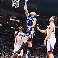 12 April 2016: Memphis Grizzlies forward Chris Andersen (7) reaches for the rebound between Los Angeles Clippers center DeAndre Jordan (6) and Los Angeles Clippers forward Blake Griffin (32) during the Los Angeles Clippers 110-84 victory over the Memphis Grizzlies, at the Staples Center, Los Angeles, California, USA.