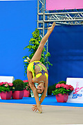 Soldatova Alexandra during qualifying at clubs in Pesaro World Cup at Adriatic Arena on April 11, 2015. Alexandra was born in Pushkino on June 01,1998. She is a rhythmic gymnast member of the Russian National Team. Her nickname for the friends is Sasha.