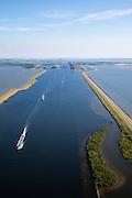 Nederland, Zeeland, Reimerswaal, 12-06-2009; Schelde-Rijnverbinding verbindt de haven van Rotterdam met die van Antwerpen. Boven in beeld de Kreekraksluizen en aan de verre horizon de koeltoren van de kerncentrale Doel (aan de overzijde van de Westerschelde). Links het Markietzaatsmeer. .Swart collectie, luchtfoto (25 procent toeslag); Swart Collection, aerial photo (additional fee required).foto Siebe Swart / photo Siebe Swart