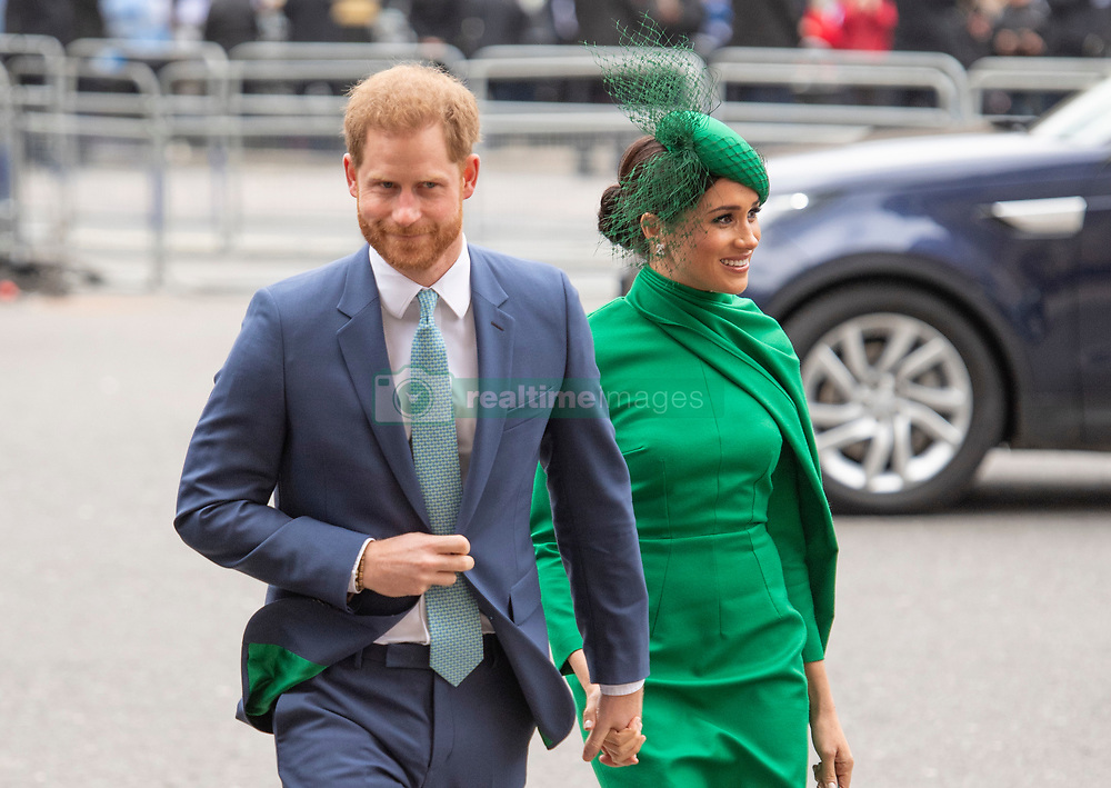 The Duke and Duchess of Sussex arriving at the Commonwealth Day Service at Westminster Abbey on March 09, 2020.