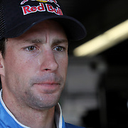 Rousch-Fenway Racing Ford driver Travis Pastrana is seen during an interview in the garage area, during a NASCAR Drive4COPD Nationwide Series practice session at Daytona International Speedway on Thursday, February 21, 2013 in Daytona Beach, Florida.  (AP Photo/Alex Menendez)