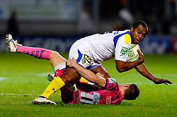 Clermont Winger (#14) Sitiveni Sivivatu is tackled by Exeter Chiefs Winger (#11) Matt Jess during the second half of the match - Photo mandatory by-line: Rogan Thomson/JMP - Tel: Mobile: 07966 386802 20/10/2012 - SPORT - RUGBY - Sandy Park Stadium - Exeter. Exeter Chiefs v ASM Clermont Auvergne - Heineken Cup Round 2