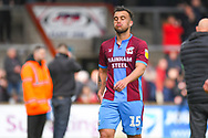 Clayton Lewis of Scunthorpe United (15) reacts after losing 3-2 during the EFL Sky Bet League 1 match between Scunthorpe United and Bradford City at Glanford Park, Scunthorpe, England on 27 April 2019.