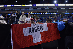 November 12, 2017 - London, United Kingdom - Fans of Roger Federer of Switzerland in action during a training session before his men's singles match against Jack Sock of the USA on day one of the ATP World Tour Finals at O2 Arena on November 11, 2017. (Credit Image: © Alberto Pezzali/NurPhoto via ZUMA Press)