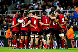 England huddle at half time - Mandatory by-line: Robbie Stephenson/JMP - 06/09/2019 - RUGBY - St James's Park - Newcastle, England - England v Italy - Quilter Internationals