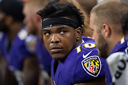 August 20, 2018 - Indianapolis, IN, U.S. - INDIANAPOLIS, IN - AUGUST 20: Baltimore Ravens tackle Orlando Brown Jr. (78) on the sidelines during the NFL preseason game between the Indianapolis Colts and Baltimore Ravens on August 20, 2018, at Lucas Oil Stadium in Indianapolis, IN. (Photo by Zach Bolinger/Icon Sportswire) (Credit Image: © Zach Bolinger/Icon SMI via ZUMA Press)