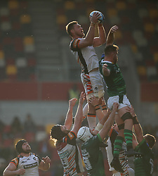 Leicester Tigers' Hanro Liebenberg (left) and London Irish's George Nott contest a line out during the Gallagher Premiership match at the Brentford Community Stadium, London. Picture date: Saturday October 9, 2021.
