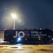The bus of Democratic presidential candidate Joe Biden is seen after a community event at the Grass Wagon Event Center in Council Bluffs, Iowa on Wednesday, January 29, 2020.