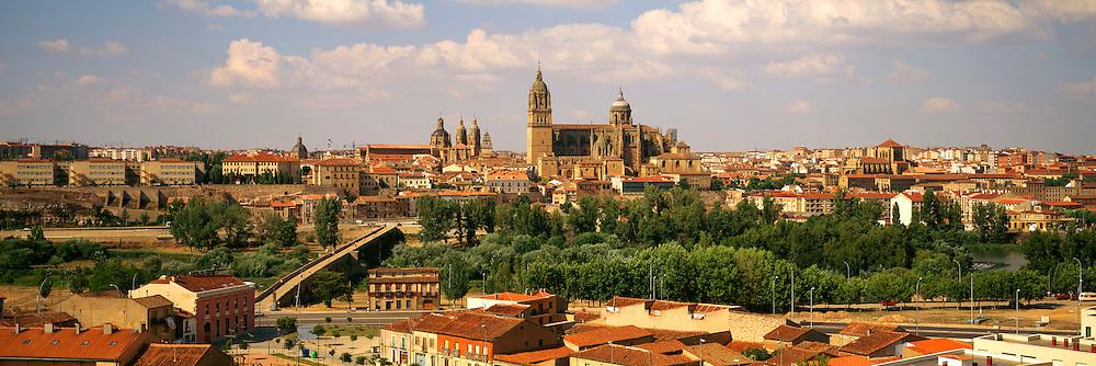 SPAIN, CASTILE AND LEON, SALAMANCA skyline of the city across the Tormes River