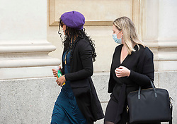 """© Licensed to London News Pictures; FILE PICTURE 22/06/2021; Bristol, UK. MARIELLA GEDGE-ROGERS (in purple beret) outside Bristol Crown Court. Mariella Gedge-Rogers is charged with riot and is one of the defendants facing charges related to a """"Kill the Bill"""" protest and riot against the Police, Crime, Sentencing and Courts Bill. During the protest on 21 March 2021 two police vehicles were burnt out and windows on Bridewell Police Station were smashed. The Police, Crime, Sentencing and Courts Bill proposes new restrictions on protests. Photo credit: LNP."""