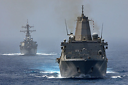 June 10, 2012 - At sea - The USN San Antonio-class amphibious transport dock ship USS New York (front) and the USS Arleigh Burke-class guided-missile destroyer USS Porter steam in formation June 10, 2012 in the Strait of Hormuz. (Credit Image: © Mcs2 Jonathan P. Idle/Planet Pix via ZUMA Wire)
