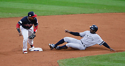 October 11, 2017 - Cleveland, OH, USA - Cleveland Indians second baseman Jose Ramirez, left, forces out the New York Yankees' Didi Gregorius on a fielders choice by Gary Sanchez in the fifth inning during Game 5 of the American League Division Series, Wenesday, Oct. 11, 2017, at Progressive Field in Cleveland. (Credit Image: © Leah Klafczynski/TNS via ZUMA Wire)