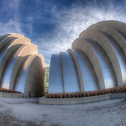North facade of the Kauffman Center for the Performing Arts by architect Moshe Safdie in downtown Kansas City, Missouri.