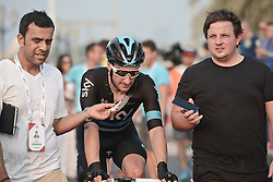 October 21, 2016 - Abu Dhabi, United Arab Emirates - Elia Viviani, an Italian racing cyclist, from Team Sky, finishes on the second place ads Mark Cavendish, a British professional road racing cyclist from Team Dimension Data, wins the second stage of the Tour of Abu Dhabi, the Nation Towers Stage, a 115km that runs mostly in the city of Abu Dhabi. After two stages, Cavendish takes the leader jersey of the race..On Friday, 21 October 2016, in  Abu Dhabi, UAE. (Credit Image: © Artur Widak/NurPhoto via ZUMA Press)