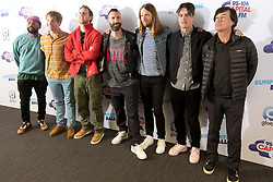 Members of the band Maroon 5, PJ Morton, Mickey Madden, Jesse Carmichael, Adam Levine, James Valentine, Sam Farrar and Ryan Dusick (left to right) on the red carpet of the the media run during Capital's Summertime Ball. The world's biggest stars perform live for 80,000 Capital listeners at Wembley Stadium at the UK's biggest summer party.