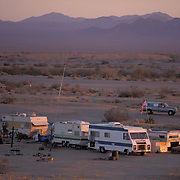 Trailers dot the desert inside Slab City, a squatter paradise in Niland, California.