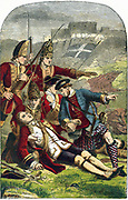 James Wolfe (1727-1759) English soldier. Death of General Wolfe on the Heights of Abraham as Quebec was captured from the French who also lost their commander, General Montcalm: 13 September 1759. Colour printed engraving c1870. Artist:Edward Corbould (1815-1905).