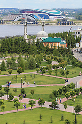 24th June 2017 - FIFA Confederations Cup - A general view (GV) of the Kazan Arena seen across the Kazanka River beyond a park - Photo: Simon Stacpoole / Offside.