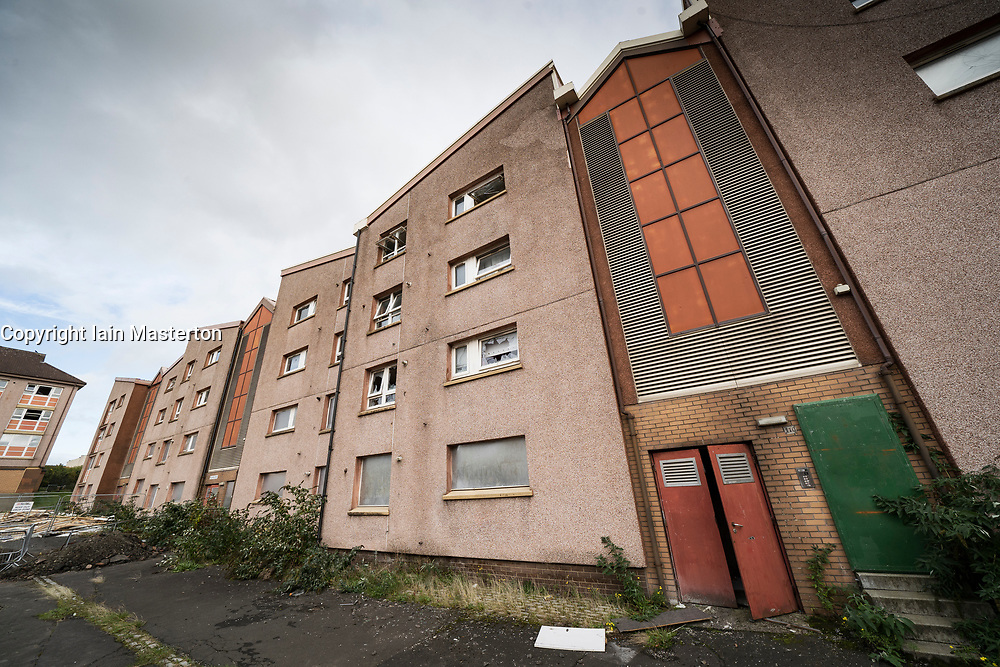 Exterior of condemned blocks of social housing flats prior to demolition in Gallogate , Glasgow, Scotland, UK