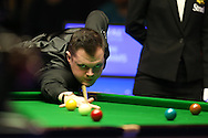 Elliot Slessor of England in action during his 1st round match against Mark Williams of Wales. .  Coral Welsh Open Snooker 2017, day 2 at the Motorpoint Arena in Cardiff, South Wales on Tuesday 14th February 2017.<br /> pic by Andrew Orchard, Andrew Orchard sports photography.