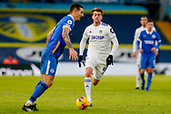 Leeds United forward Patrick Bamford (9) in action during the Premier League match between Leeds United and Brighton and Hove Albion at Elland Road, Leeds, England on 16 January 2021.