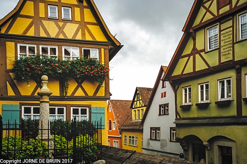 Old colorful buildings in the historic town of Rotheburg ab der Tauber, Germany