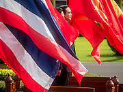 23 JULY 2015 - BANGKOK, THAILAND:  PRAYUTH CHAN-O-CHA, Prime Minister of Thailand, is surrounded by Thai and Vietnamese flags fluttering in the wind at the arrival ceremony for NGUYEN TAN DUNG, the Prime Minister of Vietnam.The Vietnamese Prime Minister and his wife came to Bangkok for the 3rd Thailand - Vietnam Joint Cabinet Retreat. The Thai and Vietnamese Prime Minister discussed issues of mutual interest.     PHOTO BY JACK KURTZ
