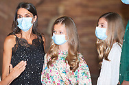 Queen Letizia of Spain, Crown Princess Leonor, Princess Sofia visit to the National Museum of Roman Art on July 22, 2020 in Merida, Spain