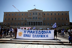 June 15, 2018 - Athens, Attica, Greece - Demonstration against the agreement between Greece and FYROM, outside the Greek Parliament in Athens, Greece on June 15, 2018. The agreement seems to resolve a 27-year problem over the name of the former Yugoslav republic and the use of the term 'Macedonia' which would result in FYROM being renamed to North Macedonia. (Credit Image: © Giorgos Georgiou/NurPhoto via ZUMA Press)