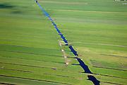 Nederland, Zuid-Holland, Krimpenerwaard, 12-06-2009; Omgeving Stolwijk, verkaveling van sloten en greppels voor drainage van de weilanden, rode tractor in groene weilanden van het Groene Hart .Swart collectie, luchtfoto (25 procent toeslag); Swart Collection, aerial photo (additional fee required).foto Siebe Swart / photo Siebe Swart