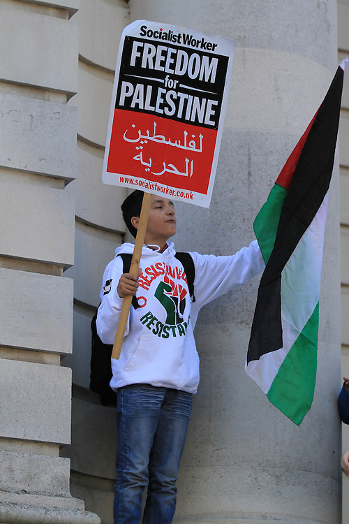 A young boy waves a Palestinian flag at a protest in Cardiff ahead of Israel's UEFA Championships match with Wales. Protesters highlighted Israel's occupation of Palestine.