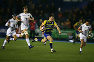 Tomos Williams of Cardiff Blues © runs in to score his teams 1st try. European Rugby Challenge Cup, pool 2 match, Cardiff Blues v Toulouse at the BT Cardiff Arms Park, in Cardiff, South Wales on Sunday 14th January 2018.<br /> pic by  Andrew Orchard, Andrew Orchard sports photography.