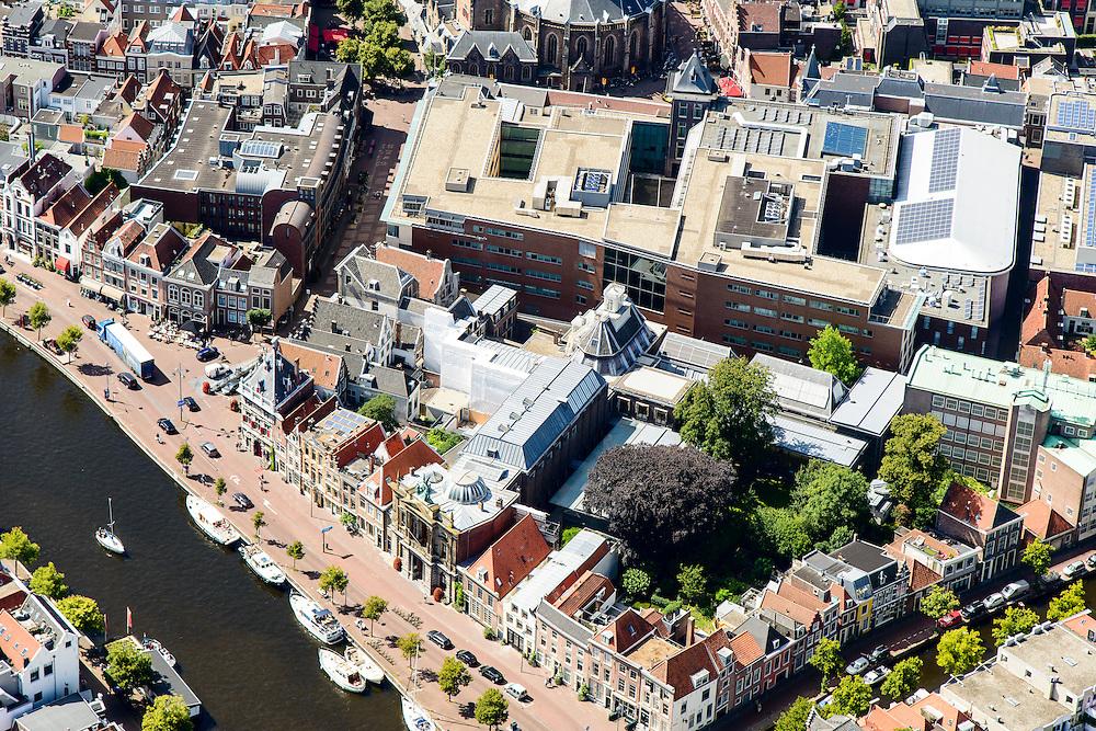 Nederland, Noord-Holland, Haarlem, 01-08-2016; centrum Haarlem, met aan het Spaarne het Teylersmuseum en direct daar achter Rechtbank Haarlem.<br /> City centre Haarlem.<br /> luchtfoto (toeslag op standard tarieven);<br /> aerial photo (additional fee required);<br /> copyright foto/photo Siebe Swart