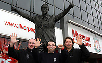 Photo: Paul Thomas.<br /> Photography of Norwegian Liverpool supporters at Anfield. 04/03/2007.<br /> <br /> Norwegian Liverpool supporters Andre Oien (C), Einar Kvande and Per Arild Soly (R).