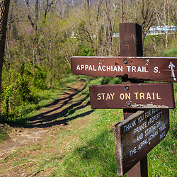 A sign along the Appalachian Trail in Washington County, MD.
